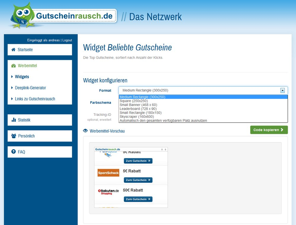 Gutschein WordPress Widget