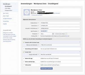 Facebook App verwalten